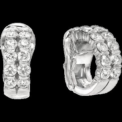 Platinum Gemlok 2 Row Diamond Earrings