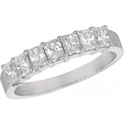 Platinum Prong Set Radiant Diamond 7 Stone Ring