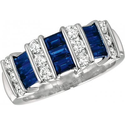 Platinum Gemlok 3 Row Baguette and Round Diamond and Sapphire Ring
