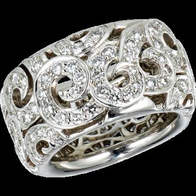 18kt White Gold Arabesque Diamond Ring