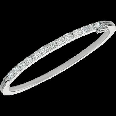 18kt White Gold Prong Set Radiant Diamond Bangle
