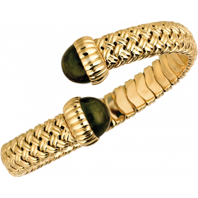 18kt Yellow Gold Vannerie Spring Bracelet with Green Tourmaline Cabachons