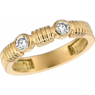 18kt Yellow Gold Bar D'Or 2 Stone Ring