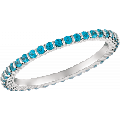 18kt White Gold Minilok Paraiba Topaz  Eternity Ring