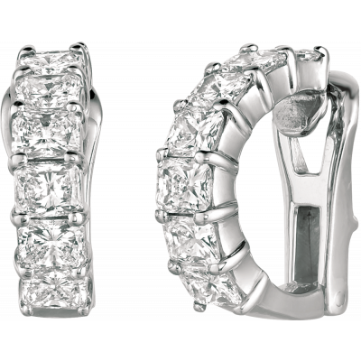 Platinum Radiant Diamond Earring