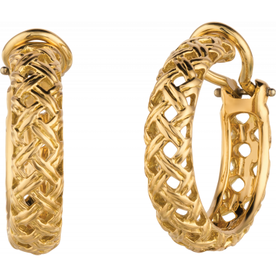 18kt Yellow Gold Vannerie Hoop Earrings