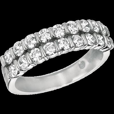Platinum Gemlok 2 Row Diamond Ring