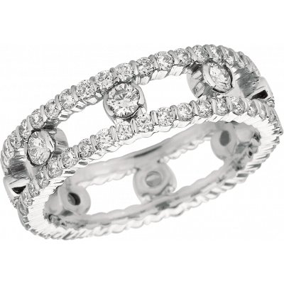 18kt White Gold Minilok 2 Row Diamond Dot Ring