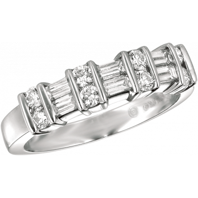 Platinum Gemlok 2 Row Baguette and Round Ring