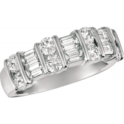 Platinum Gemlok 2 Row Baguette and Round Diamond Ring