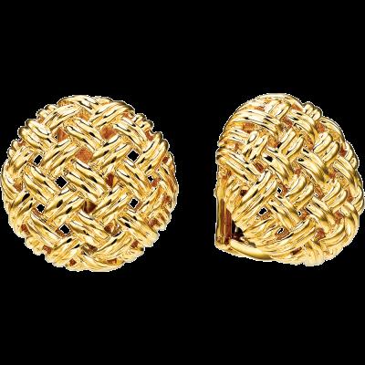 18kt Yellow Gold Vannerie Medium Button Earring