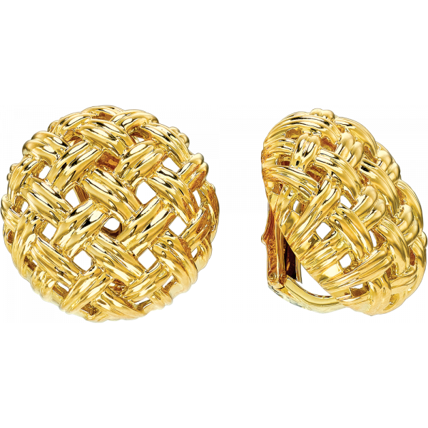18kt Yellow Gold Vannerie Large Button Earring