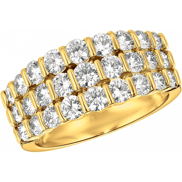 18kt Yellow Gold Gemlok 3 Row Diamond Ring