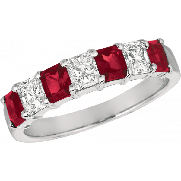 Platinum Prong Set Radiant Diamond and Radiant Ruby 7 Stone Ring
