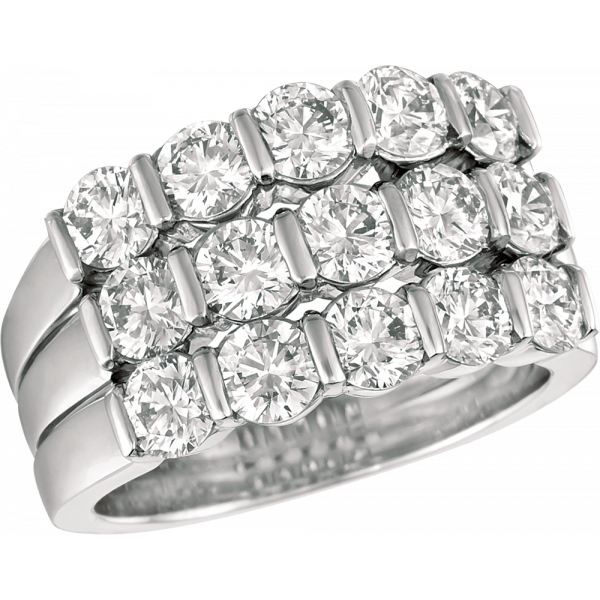 Platinum Gemlok 3 Row Ring