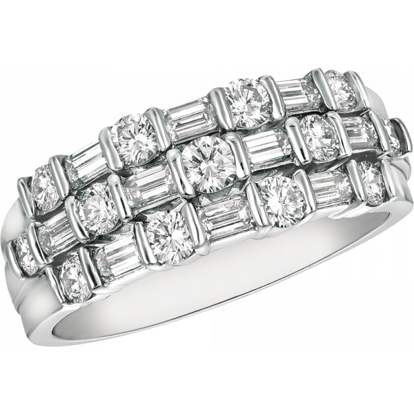 Platinum Gemlok Baguette and Round Diamond 3 Row Ring