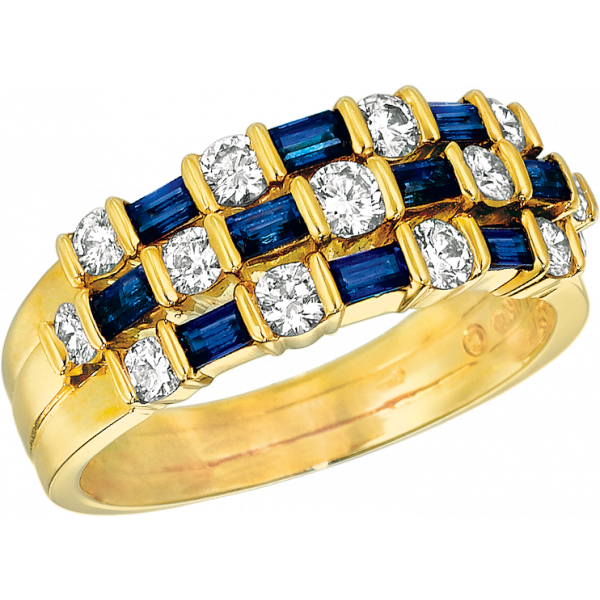 18kt Yellow Gold Gemlok 3 Row Baguette and Round Diamond and Sapphire Ring