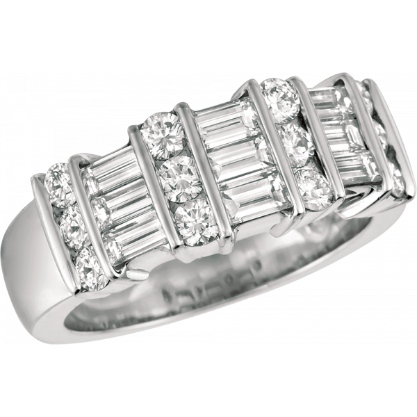 Platinum Gemlok 3 Row Baguette and Round Diamond Ring