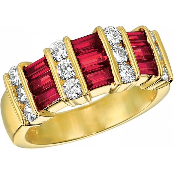 18kt Yellow Gold Gemlok 3 Row Baguette and Round Diamond and Ruby Ring