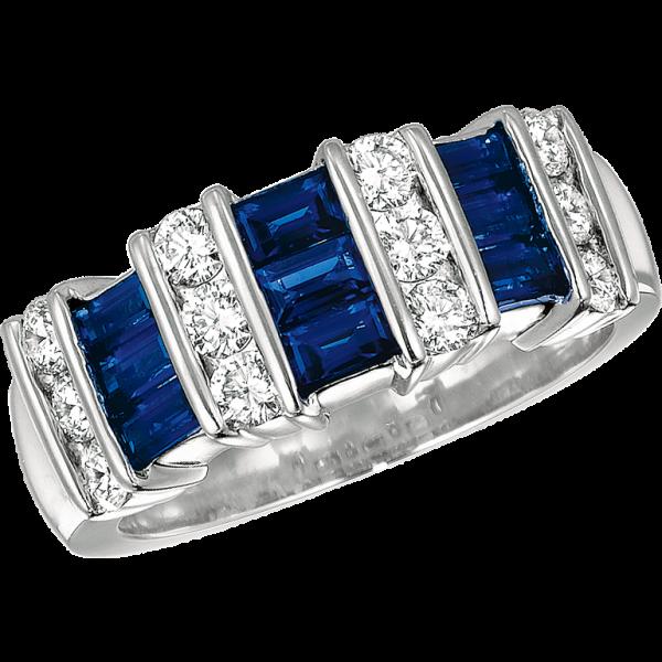 Platinum Gemlok 3 Row Baguette and Round Diamond and Sapphire Ring