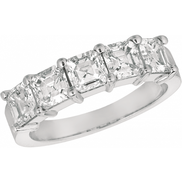 Platinum Prong Set  Ascher Diamond 5 Stone Ring