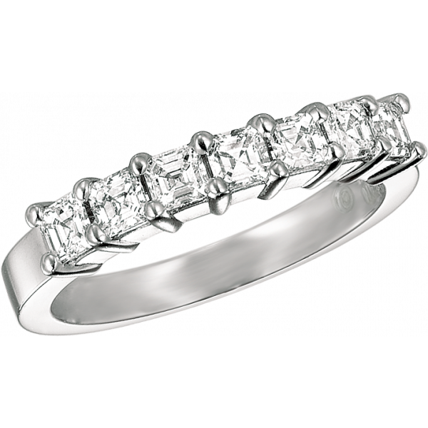 Platinum Prong Set Ascher Diamond 7 Stone Ring