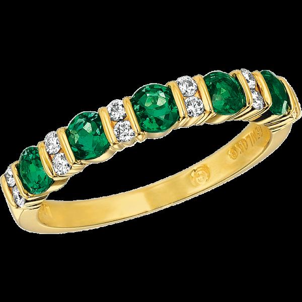 18kt Yellow Gold Gemlok Diamond and Emerald Part Way Ring