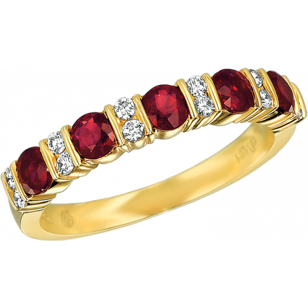 18kt Yellow Gold Gemlok Diamond and Ruby Part Way Ring
