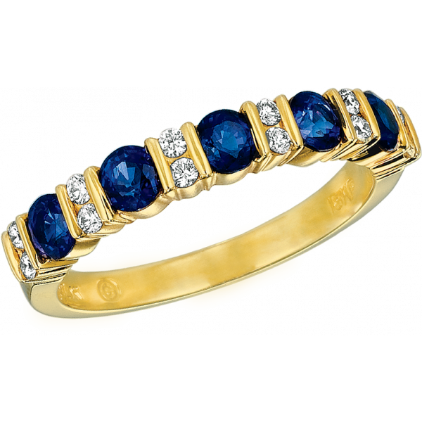 18kt Yellow Gold Gemlok Diamond and Sapphire Part Way Ring