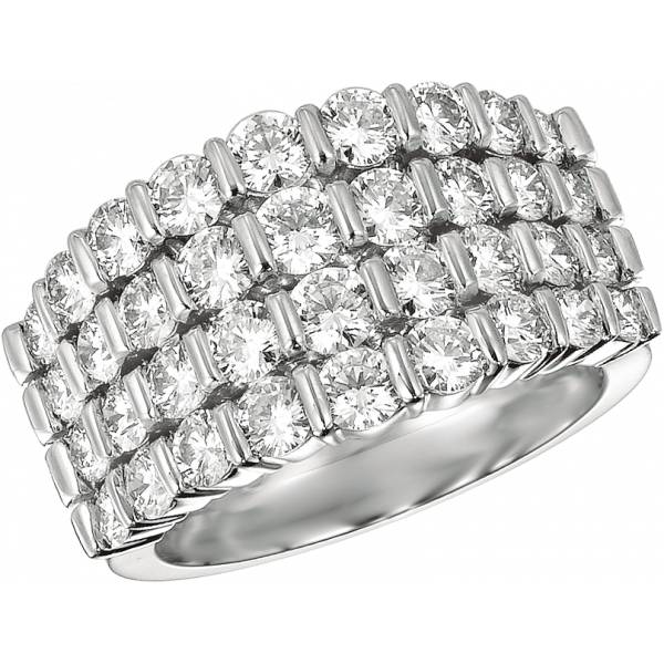 Platinum Gemlok Diamond 4 Row Ring