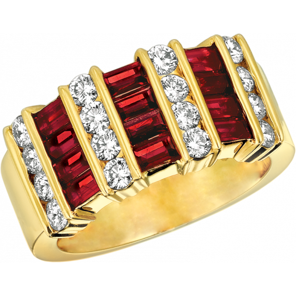 18kt Yellow Gold Gemlok 4 Row Diamond and Baguette Ruby Ring