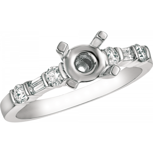 Platinum Gemlok Baguette and Round Diamond Engagement Ring