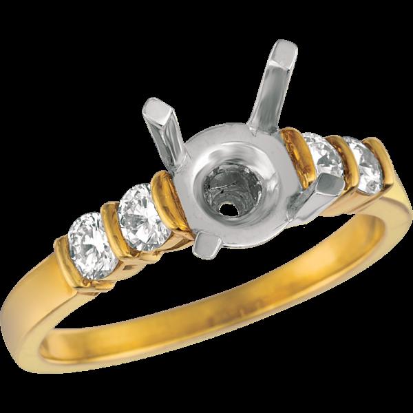 18kt Yellow Gold Gemlok Diamond Engagement Ring