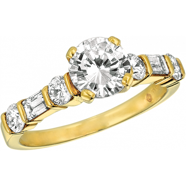 18kt Yellow Gold Gemlok Baguette and Round Diamond Engagement Ring