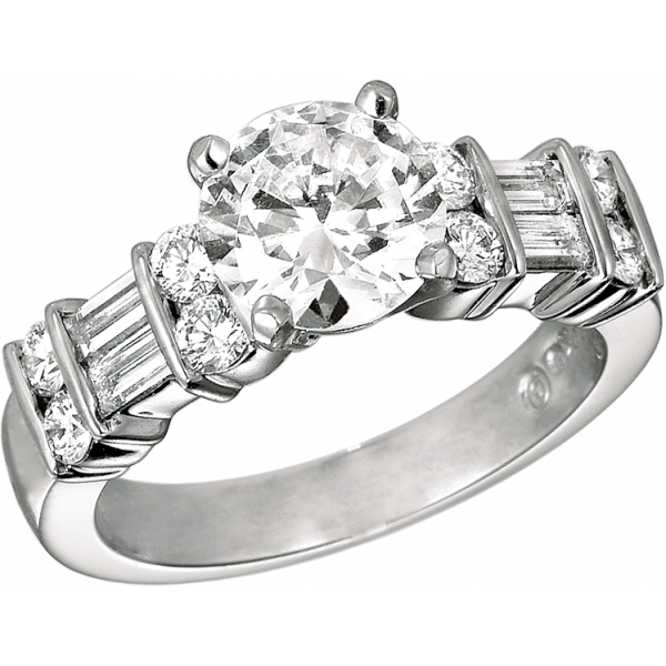 Platinum Gemlok 2 Row Baguette and Round Diamond Engagement Ring