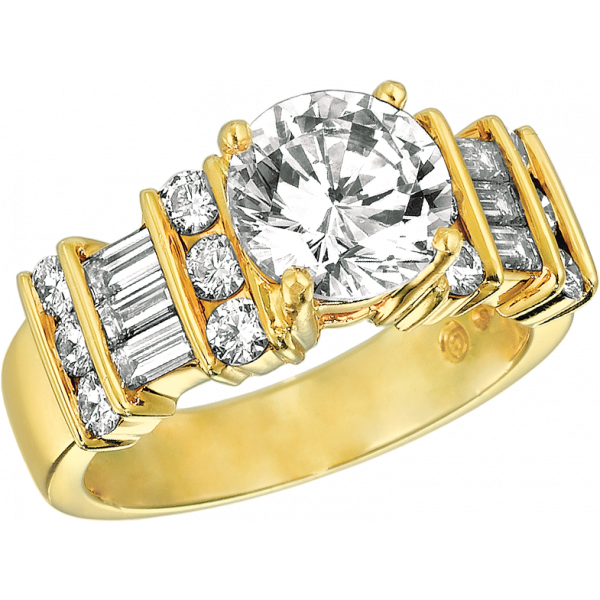 18kt Yellow Gold Gemlok 3 Row Baguette and Round Diamond Engagement Ring