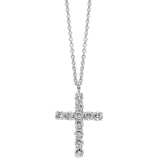 Platinum Gemlok Diamond Medium Cross Pendant