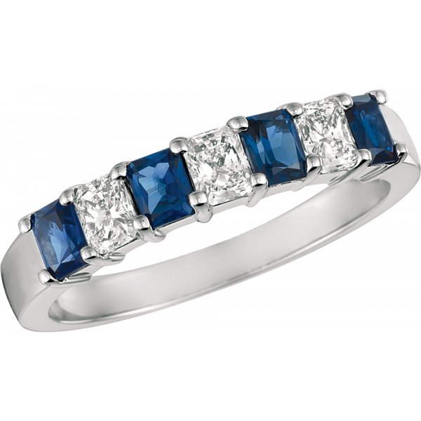 Platinum Prong Set Radiant Diamond and Radiant Sapphire 7 Stone Ring