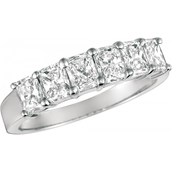 Platinum Prong Set Radiant Diamond 6 Stone Ring