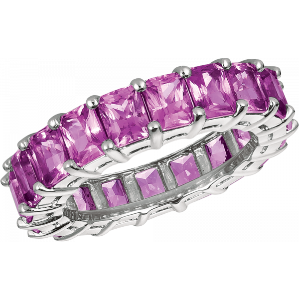 Platinum Radiant Pink Sapphire Eternity Ring