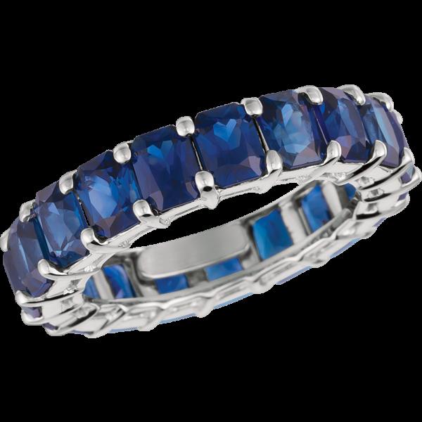 Platinum Radiant Sapphire Eternity Ring