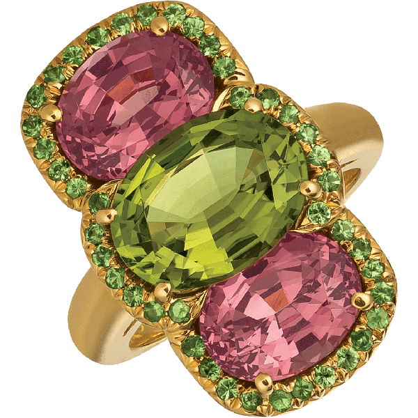 18kt Yellow Gold Green Tourmaline and Lindi Garnet Bold Ring