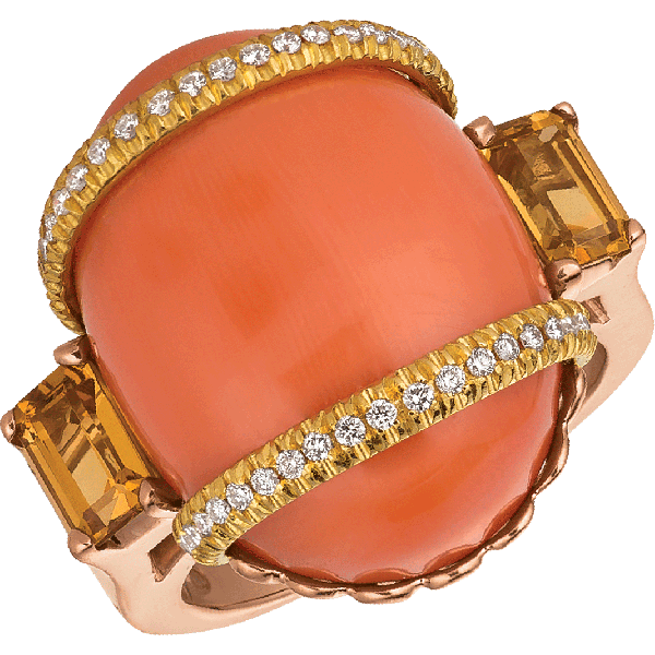 18kt Rose and Yellow Gold Coral Ring