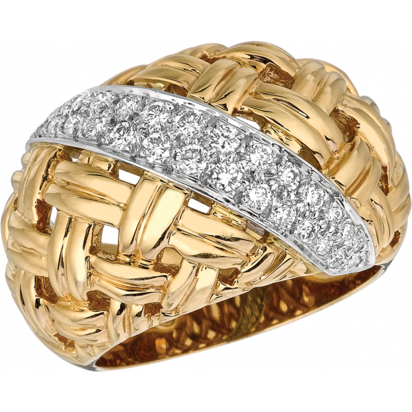 18kt Yellow Gold and Platinum Vannerie Diamond Accent Ring