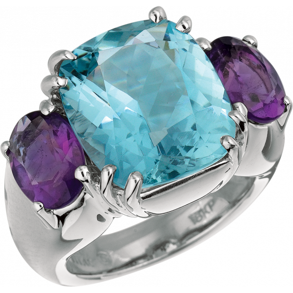 18kt White Gold Bold Ring with Blue Topaz and Amythyst