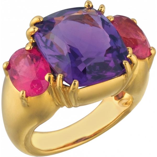 18kt Yellow Gold Bold Ring with Amythyst and Rubelite