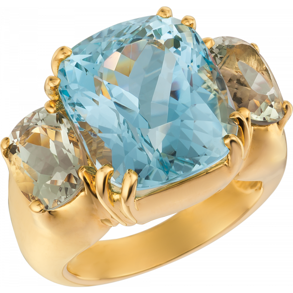 18kt Yellow Gold Bold Ring with Aquamarine and Green Amythyst