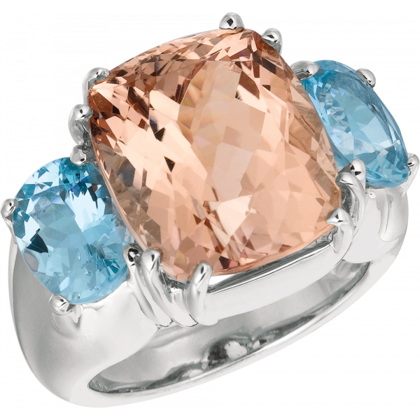18kt Rose Gold Bold Ring with Morganite and Aquamarine