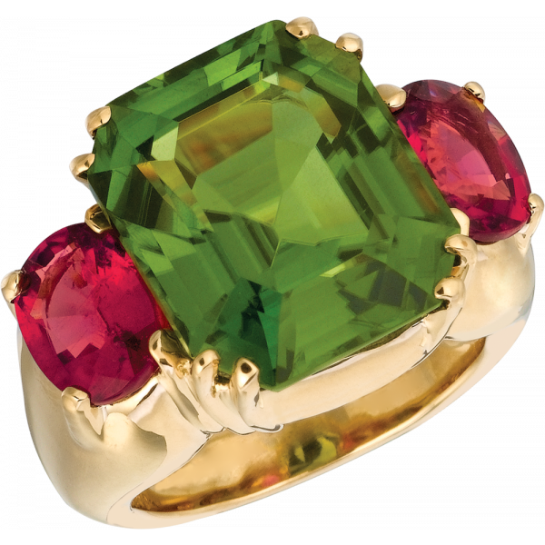 18kt Yellow Gold Bold Ring with Peridot and Rubelite