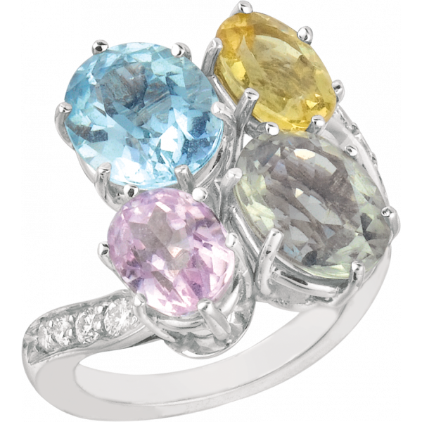 18kt White Gold Pastel Diamond and Color Ring